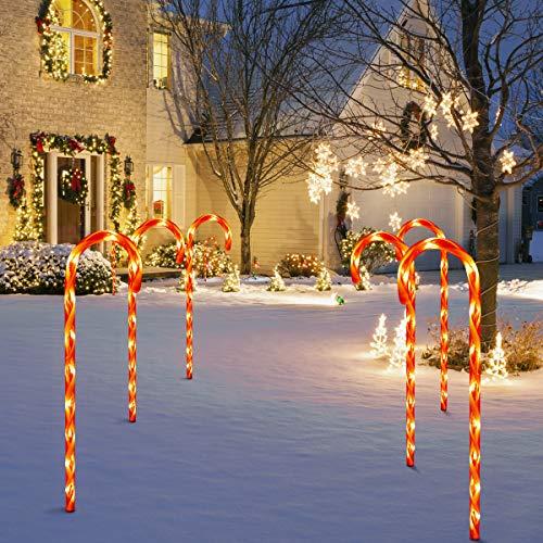 GIGALUMI LED Zuckerstangen 4er Set beleuchtete Zuckerstangenstäbe LED-Gartenleuchtstäbe Außendekoration Weihnachten Dekoration Strombetrieben