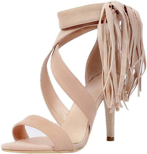 TYX-SS Chaussures pour Femmes d'été élégantes Sandales à Glands à Talons Hauts Daim Sandales à Talons Hauts