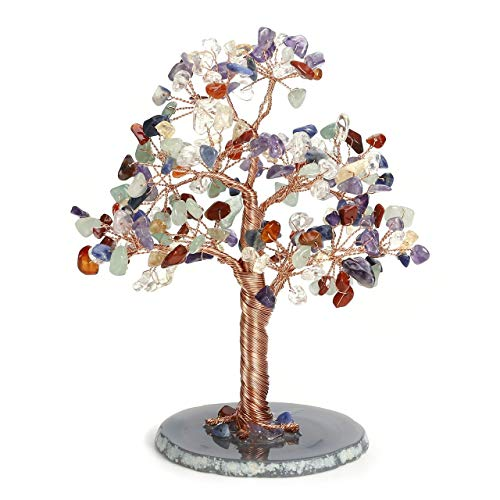 Jovivi 7 Chakra Crystal Money Tree Natural Healing Geode Agate Slices Base Bonsai Crystal Tree Ornament Feng Shui Decoration for Wealth and Luck 5.5'-6.3'
