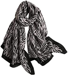 DKX Female Spring and Autumn Cotton and Linen New European and American Zebra Pattern Silk Scarf, Long Scarf, Summer Sunscreen Isn Shawl Beach Towel Scarves, (Color : Gray)
