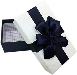 Phononey 1x Caja de regalo rectangular con lazos Embalaje de cartón de lujo Caja de joyería Grande con tapa Lazo para aniversarios bodas cumpleaños15,5*9,6cm Cubierta Blanca+ Fondo Azul