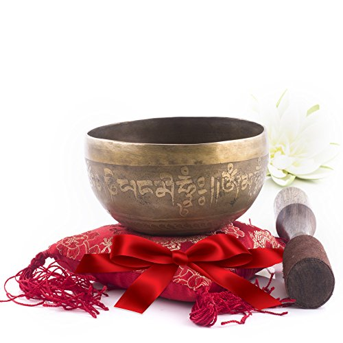 Silent Mind ~ Hand Hammered B Crown Chakra Tibetan Singing Bowl Set ~ For Chakra Healing, Prayer,Yoga, and Mindfulness ~ Lotus Flower Mallet & Cushion ~ Handmade In Nepal ~ Perfect Gift
