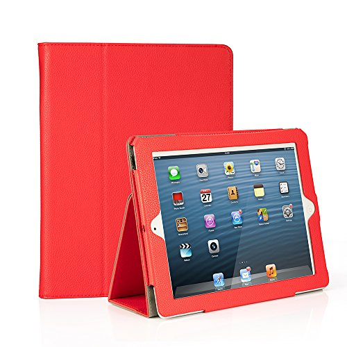 RUBAN Folio Case for iPad 2 3 4 (Old Model) 9.7 inch Tablet - [Corner Protection] Slim Fit Smart Stand Protective Cover Auto Sleep/Wake, Red