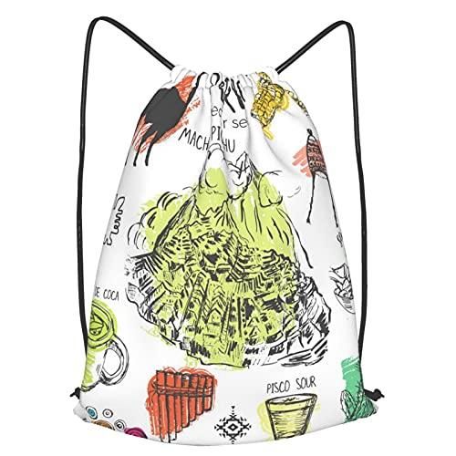 Mochilas de Cuerdas Unisex,Inca de símbolos Perú Cultura peruana típica con salpicaduras de color en el,Impermeable Mochila con Cordón,adulto Niños exterior Mochilas Casual,yoga Bolsas de Gimnasia