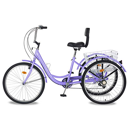 MOPHOTO Adult Tricycles 7 Speed 24/26 Inch Three Wheel Bike Cruiser Trike with...