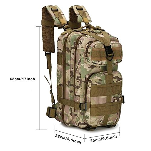 Jian Ya Na Military Tactical Backpack Rucksacks Hiking Bag Outdoor Trekking Camping Tactical Molle Pack Men Tactical Combat Travel Bag 25L (Camouflage)