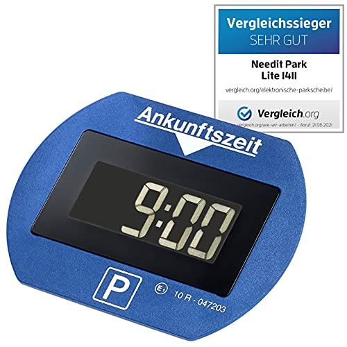 Needit PARKLITEBL Park Lite vollautomatische Zulassung für ganz Deutschland-spart Zeit und Geld I Auto Parkscheibe mit Batterie und Montage Zubehör I Digitale Parkuhr 10 x 7,7 x 1,8 cm