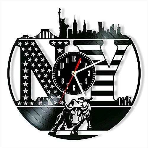 XYVXJ El Reloj de Pared con Disco de Vinilo de Nueva York Ofrece Regalos Decorativos únicos Hechos a Mano para Hombres, Mujeres, Amigos y niños.