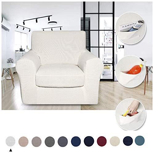 YMOMG Funda de sofá de 2 piezas para salón, sofá funda de sofá con parte inferior elástica, tela de licra elástica, Blanco, 1 Seater/Chair