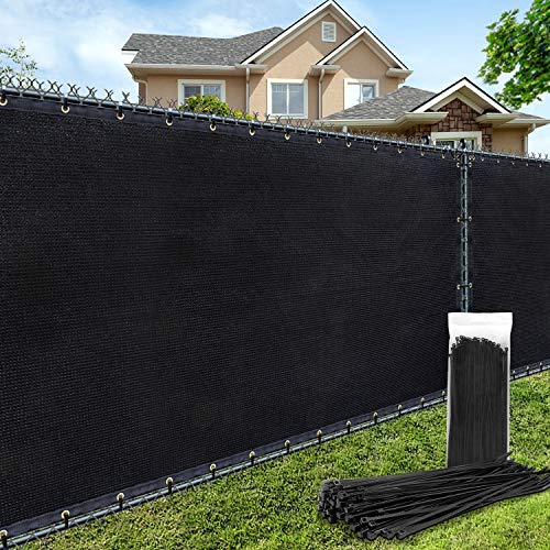 AofeiGa 6'×50' Privacy Fence Screen Heavy Duty UV Protection Mesh Deck Patio Backyard Outdoor Fence Cover 180 GSM (Black)