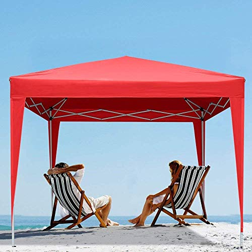 Foldable Polyester Material Outdoor Garden Pavilion Awning Four skylights and Two Side Walls of The Door is Suitable for Family Gatherings, Parties, Beach, Garden,B-3 x 3 m