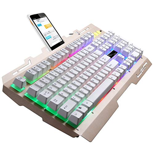 PC ZGB G700 104 Tasten USB-Kabel Mechanisch Feel RGB-Hintergrundbeleuchtung Metal Panel Suspension Gaming-Tastatur mit Handyhalter (Schwarz) Never Fade (Farbe : Gold)