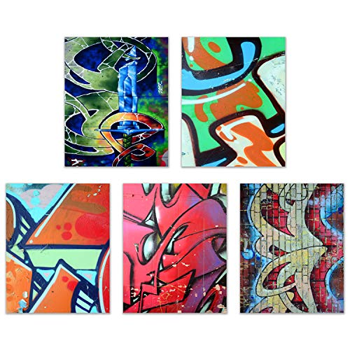 Graffiti Wall Art Decor Prints - Set of 4 (8x10) Inch Unframed Poster Photos - Bedroom - Gift Idea