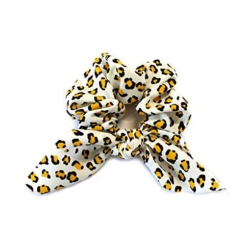 Gros chouchou élastique cheveux à pan leopard - jaune