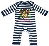 HARIZ Baby Strampler Streifen Weltbester Grosser Bruder Eule Musik Geburtstag Bruder Baby Plus Geschenkkarten Navy Blau/Washed Weiß 12-18 Monate