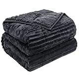 Sherpa Fleece Weighted Blanket 15lbs for Adult, Thick Fuzzy Bed Throw with Ribbed Stripes, Dual Sided Cozy Fluffy Weighted Blanket with Premium Beads for Bed, Couch, 42 x 72 Inches, Dark Grey