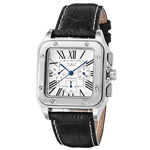 BesTn Mechanische Herren-Armbanduhr, Automatik, silber-schwarzes Zifferblatt aus Legierung, Lederband, römische Ziffern, vielseitig, luxuriös, modisch