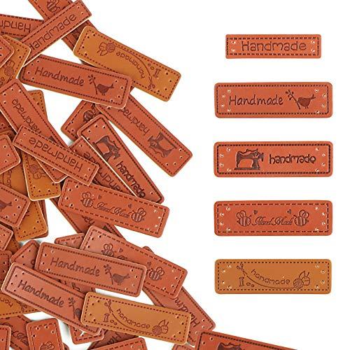 VINFUTUR 100pcs Etiquetas Handmade Cuero Etiquetas Personalizadas Hechas a Mano con Agujero...