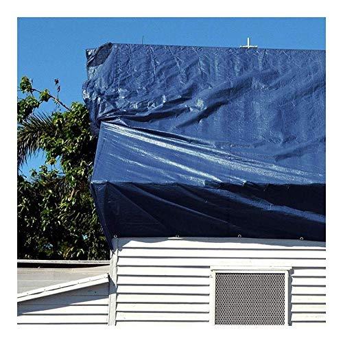 ZHUAN Lona Impermeable, Resistente, Protector Solar para cochera, Resistente al Viento y la Lluvia, Ojal de Metal con Cuerda Libre, Tienda de campaña para Exteriores, 17 tamaños (Color: Azul, Tama
