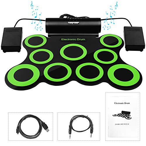 Longruner Electronic Drum Set, Foldable Roll Up Drum Kit with 9 Drum Practise Pads, 2 Foot Drum Pedals, 2 Drum Sticks, Headphone Jack, Best Birthday Christmas Gift for Kids Children Starters