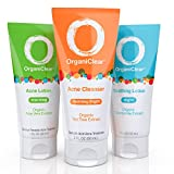 OrganiClear Acne Treatment Kit-30 Day Supply, Includes Morning Benzoyl Peroxide Cream, Salicylic Acid Cleanser, and Chamomile Soothing Night Lotion, Helps Cystic Acne, Hormonal Acne, Adult Acne