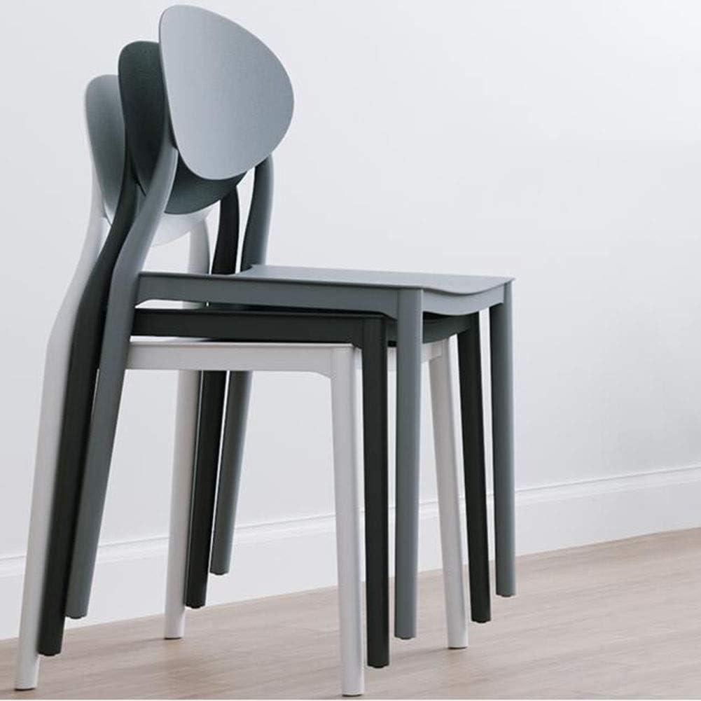 WYYY chaises Chaise De Salle À Manger En Plastique Lot De 2 Chaise De Table Antidérapant Empilable Chaise De Dossier Hauteur D'assise 45cm Durable fort (Color : Green) Black