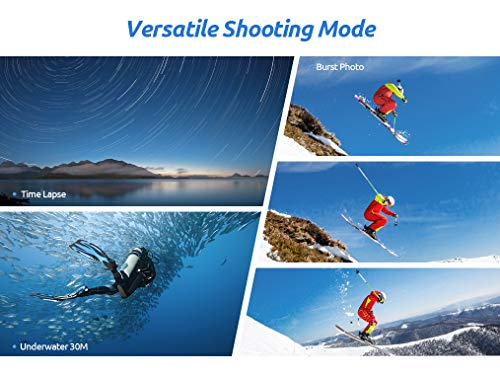 VanTop Moment 4U 4K Action Camera 20MP Underwater Waterproof Camera with EIS, External Microphone, Touch Screen, Slow… 3 Fabulous 4K Action Camera: Featuring professional 4K/30FPS video and 20MP photo resolution, VanTop Moment 4U action camera captures crystal clear and sharp footages for your adventures. The IPS touch screen and humanized operating interface make it easier to set up the camera. Just enjoy the moment for you Hyper-Stable EIS Technology: Built-in advanced Electronic Image Stabilization (EIS) helps to counteract any bump, shake or camera tilt and delivers shake-free, extremely stable and stunning videos. VanTop Moment 4U action camera is built for movements and adventures Waterproof Up to 100FT: You can explore the mysterious submarine world with this underwater camera with its included high quality waterproof case on. It is ideal for water sports such as snorkeling, diving, swimming, surfing, etc. Snap the moments you can't get with your phone with this VanTop Moment 4U