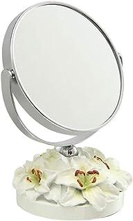 Vanity Mirror Desktop Makeup Mirror 360 Degree Free Rotation Bracket Lily Base Design Resin HD for Family Dressing Room