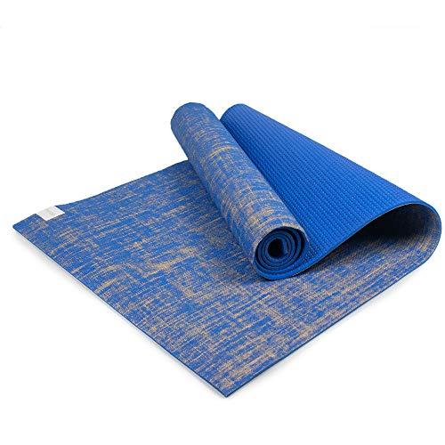 Myga RY1243 - Esterilla de yoga de yute, de alto rendimiento, vegano, tapete de ejercicio para el suelo, ecológico, biodegradable, con respaldo de PVC, 5 mm de grosor, color azul