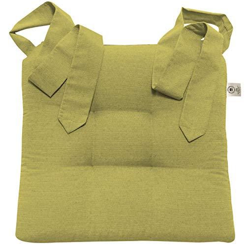 JEMIDI Stuhlkissen Sitzkissen mit Schleifenband Stuhlkissen Esszimmer Schleife Stuhl Kissen Rattanstühe Extra Dick Bequem Leinenlook (Grün)