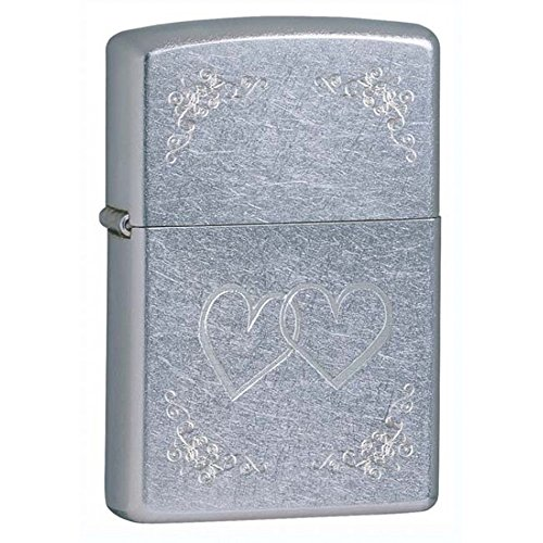 Zippo Heart to Heart Street Chrome Outdoor Indoor Windproof Lighter Custom Personalized Engraved Message on Backside