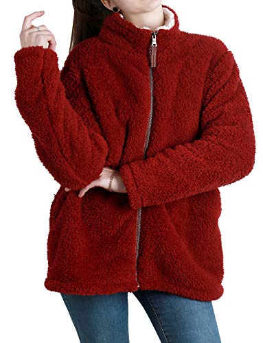 Jjyee Women's Long Sleeve Full-Zip Warm Winter Coats Fuzzy Shearling Fleece Sherpa Pullover Jacket with Pockets Wine Red XL