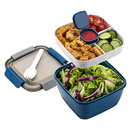 Freshmage Salad Lunch Container To Go, 52-oz Salad Bowls with 3 Compartments, Salad Dressings Container for Salad Toppings, Snacks, Men, Women (Blue)