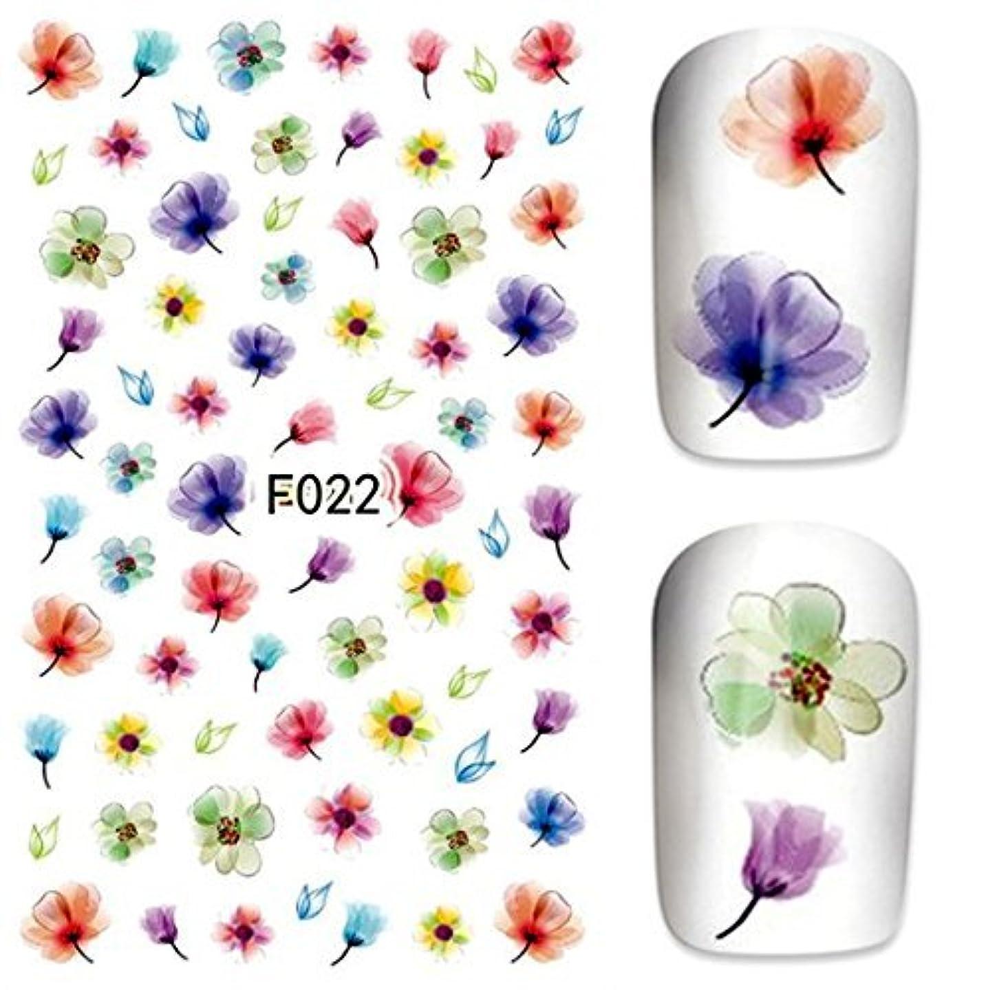 状発症古風な水彩 お花パターンネイルステッカー ネイルシールネイルアートパーツ
