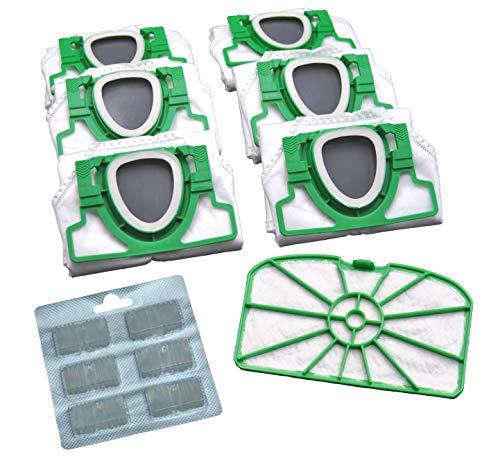 Juego ahorro de 6 bolsas de microfieltro para aspiradora, 1 filtro de protección del motor y 6 bloques aromáticos, adecuadas para Vorwerk Kobold 200 VK200 FP200