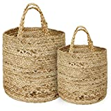 DUAL USES - The beauty of our jute baskets with handle is that you can either use it to dress up your plant or use it as a storage bin for various items such as clothes, baby toys, magazines, home supplies, blankets, laundry items, and many more. Als...
