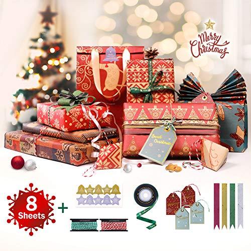 8 Fogli di Carta da Regalo Natalizia da 70x50cm con 1 Rotolo di Nastro Natalizio, 4 Fiocchi, 4 Cartoncini Sospesi, 10m di Cordino di Cotone e 10 Adesivi per Confezioni Regalo Natale e Artigianato DIY