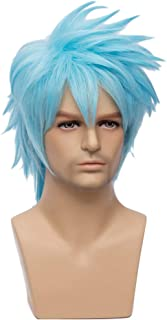 BERON Short Layered Cool Men Boys Tousled Wig Heat Resistant Synthetic Wigs for Anime Cosplay Party (Light Blue)