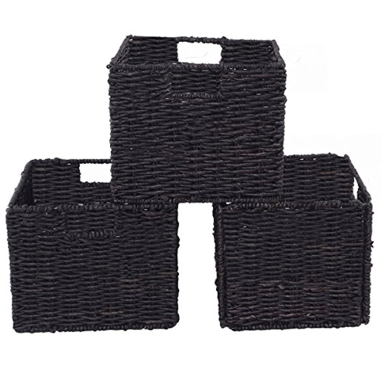 Shining Bamboo Storage Baskets Folding Nesting Rectangular Organizer Home Room Set of 3
