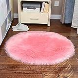 La alfombra Sencillez Ronda de Lana Estera del Piso del Ordenador for sillas de imitación de Piel Redonda Dormitorio de Noche Manta HAODAMAI (Color : B, Size : 130cm)