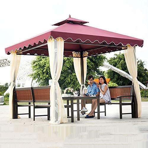 Gazebo del jardín, Doble Tapa de la Tienda al Aire Libre Patio toldo al Aire Libre Muebles Ocio Patio de Villa Sol Junta Pabellón terraza con Mesa y Juego de sillas,Rojo