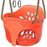 SELEWARE Cute High Back Full Bucket Toddler Swing Seat with Adjustable Rope, Heavy Duty Playground Swing Set with 2 Carabiners, Elephant Design, 600LB Weight Limit, Red