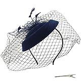 Umeepar Damen Pillbox Fascinator Hut Hochzeit Tea Party Hüte mit Federn Schleier Stirnband Clip (Dunkelblau)