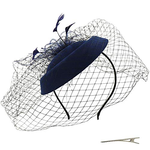 Umeepar Damen Pillbox Fascinator Hut Hochzeit Tea Party Hüte mit Federn Schleier Stirnband Clip (Dunkelblau)