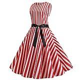 COZOCO Vestido de impresión sin Mangas de Rayas Verticales Retro Elegante Lindo de Las señoras(Rojo,S