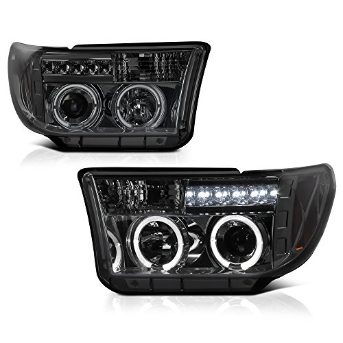 [For 2007-2013 Toyota Tundra & 2008-2017 Sequoia] LED Halo Ring Chrome Smoke Projector Headlight Headlamp Assembly, Driver & Passenger Side