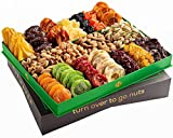 Mothers Day Nuts & Dried Fruit Gift Basket – Selection of 18 Food Tray – Gourmet Snack Box for Mothers Day, Fathers Day, families, Men, Women, Holiday, Christmas, Thanksgiving, Sympathy, Birthday