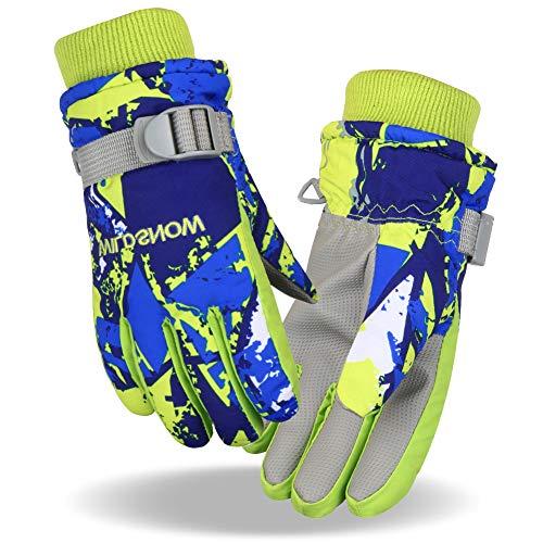 Fengzio Skihandschuh wasserdichte und Winddichte Winterhandschuhe Warm Sporthandschuhe Snowboard Handschuhe für Outdoor-Sport in Winter Fahrradhandschuhe Warme Handschuhe für Herren/Damen/Kinder