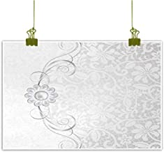 Silver Modern Oil Paintings Lace Inspired Flourish Motifs Background with Bridal Flower Border Wedding Theme Canvas Wall Art 24