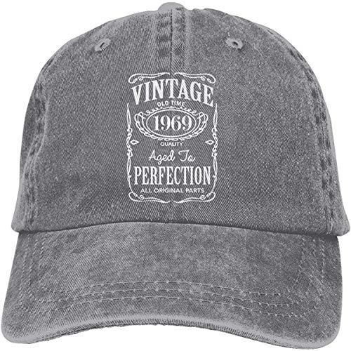 Xarchy Vintage 1949-1989 Denim Hat Unisex Retro Ajustable Lavado Gorra de Béisbol Gris